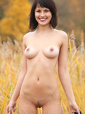 Her natural tits and her cute smile are..