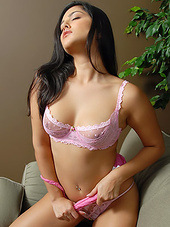 Sexy girl loves pink lace and her body..
