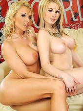Blonde in tights and her slutty friend..