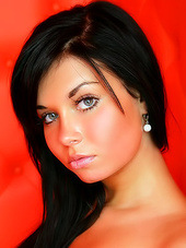 Hot girl with big blue eyes poses in..
