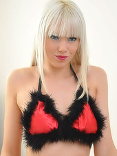 Sexy blonde teen in red lipstick brings..