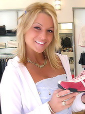 Classy blonde hoe exposes her alluring..