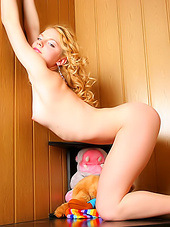 Little curly blonde with perfect slim..