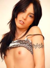 Slutty brunette chick strips her slutty..