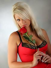 Busty blonde bitch in sexy red nightwear