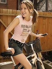 Nasty teen honey cycling in very short..