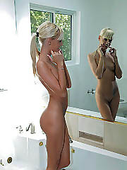 Irresistible Nubile blonde soaks in the..