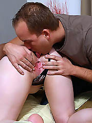 Beefy stud drills his young and chubby..