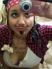 Cute brunette girlfriend self-shooting..