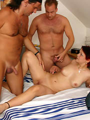 Chubby puss blows two old cocks and..