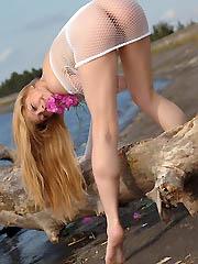 Beautiful teen model feels on cloud..