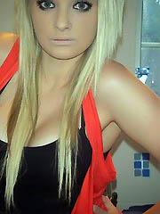 Self-shooting amateur blondes posing..