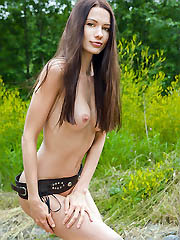 Amazing teen chick with lovely dark..