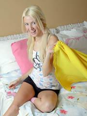 Cute blonde teen girl choking on cock..