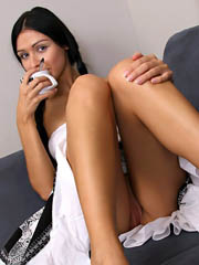 After having coffee naughty playgirl Raisa shows her tight pussy till she screwed her vibrator..